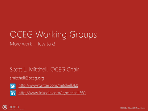 OCEG Working Group Overview