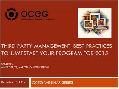 Third Party Management Best Practices to Jumpstart your Program for 2015 20141216 1600-1