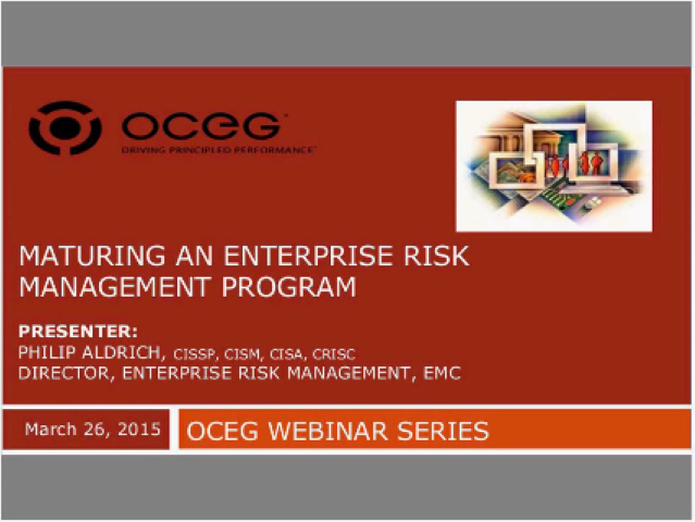 Maturing an Enterprise Risk Management Program