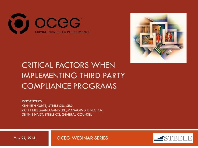 Critical Factors When Implementing Third Party Compliance Programs