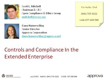 Controls and Compliance In the Extended Enterprise