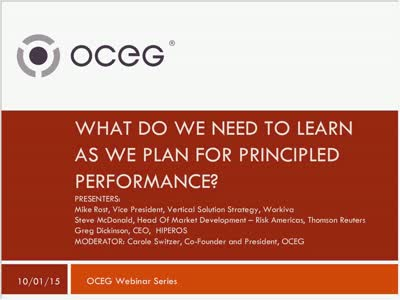 What do We Need to Learn as We Plan for Principled Performance Part One of the GRC Capabilities Illustrated Ser