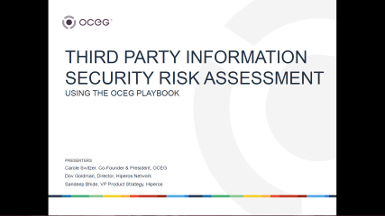 Tools for Assessing Third Party Info Security Risk Using the New OCEG Playbook
